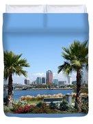 Long Beach Skyline Duvet Cover