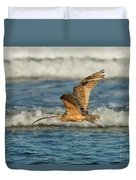 Long-billed Curlew Flying Over The Surf Duvet Cover