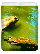 Long Neck Ducks Duvet Cover