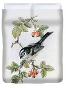 Long Tailed Tit And Rosehips Duvet Cover