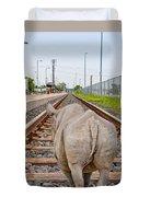 Rhino On A Railway Track Duvet Cover