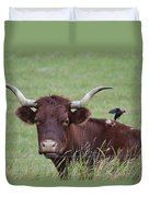Longhorn And Friend Duvet Cover