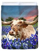 Longhorn In Bluebonnets Duvet Cover