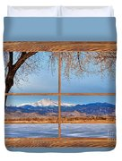 Longs Peak Across The Lake Barn Wood Picture Window Frame View Duvet Cover
