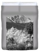 Longs Peak Autumn Scenic Bw View Duvet Cover