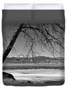 Longs Peak Geese Bw Duvet Cover
