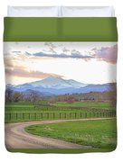 Longs Peak Springtime Sunset View  Duvet Cover