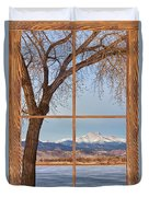 Longs Peak Winter Lake Barn Wood Picture Window View Duvet Cover
