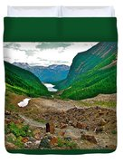 Looking Back To Lake Louise From Trail To Plain Of Six Glaciers In Banff Np-ab  Duvet Cover