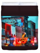 Looking Down Broadway In Nashville Tennessee Duvet Cover