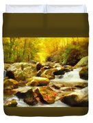 Looking Down Little River In Autumn Duvet Cover