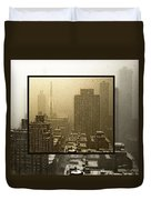 Looking Out On A Snowy Day - Nyc Duvet Cover