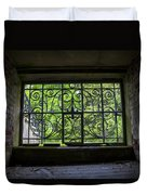 Looking Through Old Basement Window On To Vibrant Green Foliage Fine Art Photography Print  Duvet Cover