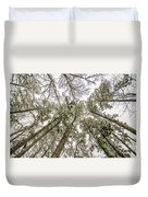 Looking Up At Snow Covered Tree Tops Duvet Cover