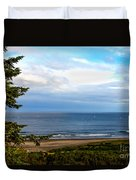 Looking West At The Fishing Boats Duvet Cover