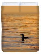 Loon At Sunset 6958 Duvet Cover