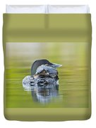 Loon Chick- Feather Hat Duvet Cover