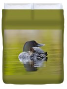 Loon Chick Resting On Parents Back Duvet Cover