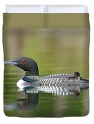 Loon Chick With Parent - Quiet Time Duvet Cover