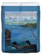 Loon Family And Morning Mist Duvet Cover