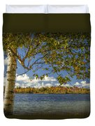 Loon Lake In Autumn With White Birch Tree Duvet Cover
