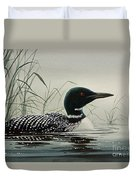 Loon Near The Shore Duvet Cover by James Williamson