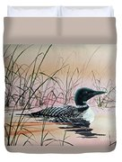 Loon Sunset Duvet Cover by James Williamson