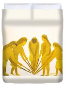 Loose Ball Third In Stickball Series Duvet Cover