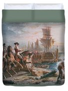 Lord Howe Organizes The British Evacuation Of Boston In March 1776 Duvet Cover by English School