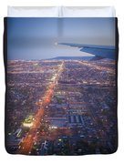 Los Angeles Aerial Overview On Approach To Lax At Night  Duvet Cover