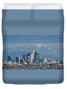 Los Angeles Skyline Mt Baldy Snowcap Duvet Cover