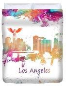 Los Angeles California Skyline Colored Duvet Cover