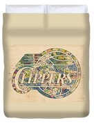 Los Angeles Clippers Poster Art Duvet Cover