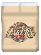 Los Angeles Lakers Poster Art Duvet Cover