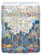 Los Angeles Skyline Abstract 3 Duvet Cover