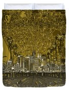 Los Angeles Skyline Abstract 4 Duvet Cover