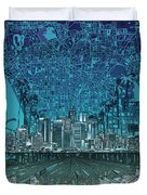 Los Angeles Skyline Abstract 5 Duvet Cover