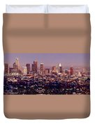 Los Angeles Skyline At Dusk Duvet Cover by Jon Holiday