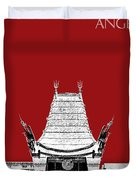 Los Angeles Skyline Graumans Chinese Theater - Dark Red Duvet Cover