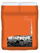 Los Angeles Skyline Hollywood - Coral Duvet Cover