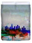 Los Angeles  Watercolor Skyline 1 Duvet Cover