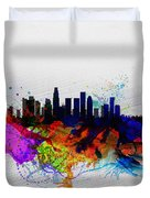 Los Angeles  Watercolor Skyline 2 Duvet Cover
