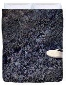 Lost Flip Flop On Lava Rock Duvet Cover