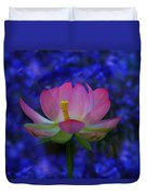 Lotus Flower In Blue Duvet Cover