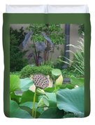 Lotus Flower In Lily Pond Duvet Cover