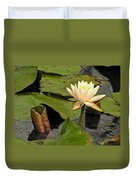 Lotus Flower In White Duvet Cover