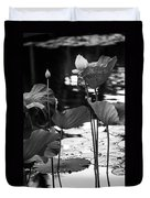 Lotuses In The Pond I. Black And White Duvet Cover