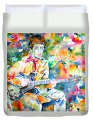 Lou Reed Playing The Guitar - Watercolor Portrait Duvet Cover