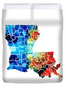 Louisiana Map - State Maps By Sharon Cummings Duvet Cover