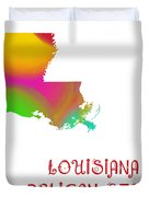 Louisiana State Map Collection 2 Duvet Cover